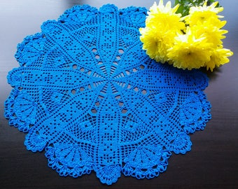 Blue Round Crochet Doily | Blue Crochet Filet Doily | Blue Lace Doily | Blue Crochet Lace Doily