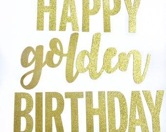 Happy Golden Birthday glitter banner golden birthday party decoration first birthday