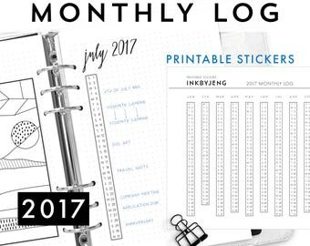 Printable PDF - 2017 Monthly Log for Journal | Vertical Calendar | Fits 5mm Grid | Print and Stick | Printable Stickers for Planners