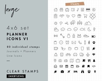 STMP-4X6-011 Planner Icons Vol. 1 | 4x6 | Planner and Journal Clear Stamp Kit