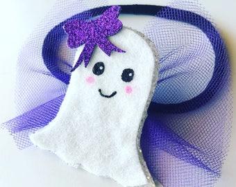 Glitter Ghost Headband or Clip