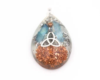 Aura Clearing Metal Resin Celtic Knot Pendant for Energy Cleansing Necklace Large Teardrop