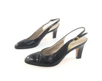 Ferragamo shoes, black heels, black pumps, size 7 shoes, size 75 shoes, patent leather shoes, sling backs, designer shoes