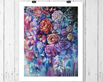 Purple wall art, floral print, wall art, flowers decor, flower art, art prints,floral,abstract art,floral painting print, large wall art,