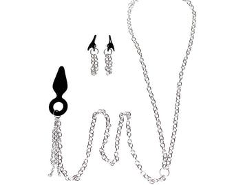 Submissive Jewelry Set Nipple Clips Clamps Anal Plug Body Chain Under The Hoode Intimate Jewelry Gifts Adult Mature Anal Beads Anal Jewelry