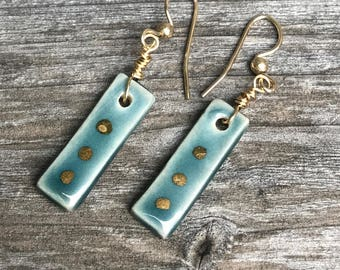 Handmade porcelain earrings in Teal, with gold luster