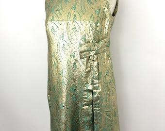 vintage dress chromespun gold green 1960s evening dress full length UK 16 plus size Mad Men shift pin up red carpet long