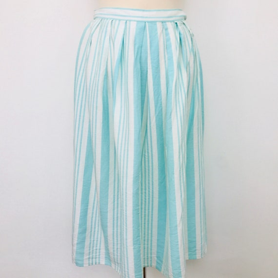 "Vintage skirt pale turquoise blue deckchair striped print gathered high waistband knee length white stripey summer 27"" waist"
