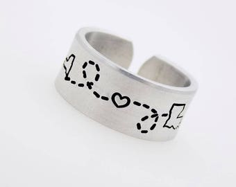 State to State ring, Handstamped adjustable ring, Choose from 50 States, Canada or USA, Long distance love, long distance gift, ldr ring