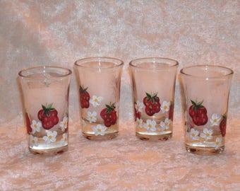 STRAWBERRY SHOT GLASSES, set of four