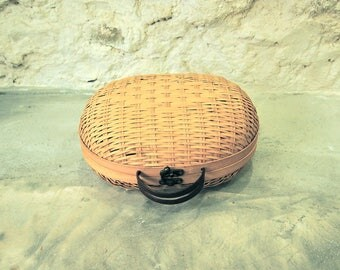 Oval Suitcase in Vintage Rattan