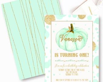 Girl Pumpkin First Birthday Invitations, Mint Pumpkin Birthday Invitations, Fall Birthday Invite