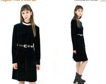 SUMMER SALE Vtg 90s Dark Green Velvet Mid Length Dress SZ Small Medium