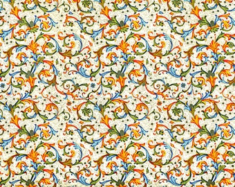 Florentine antique orange, wrapping paper with gold print, Italy