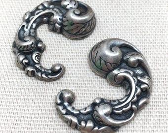 2 Silver Toned Metal Stampings