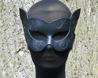 Black Cat Mask Ladies Halloween Ball Steampunk Dieselpunk Cosplay LARP CatWoman Tooled Fancy Face