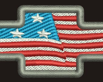 Chevrolet Emblem/ American flag  Machine Embroidery Design instantly download
