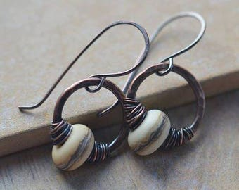 Handmade Copper Earrings with Cream Lampwork Bead UK Seller
