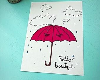 Rainy Day Beauty- 9x12 illustration- wall art- nursery art