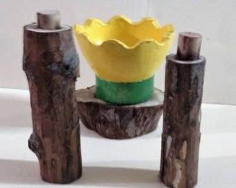 Handmade natural wood vials set with Glass Flower mini bowl