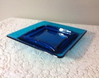 Blue Glass Ashtray Vintage Glass Ashtray Heavy Blue Ashtray Square Ashtray