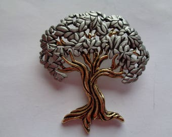 Vintage Signed JJ Silvertone/Goldtone Tree Brooch/Pin
