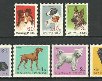 Dog Postage Stamps from Hungary - 1967 - Set of 7 - Altered Books, Artist Trading Cards, Scrapbooking, Collectors