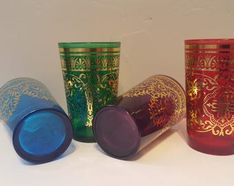 Bohemian Moroccan Vintage Jewel Tone Set of 4 Glasses