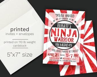 Ninja Warrior Birthday Party Invitation - PRINTED INVITATIONS Ninja Red Black Invite  Watercolor  Boy Invite