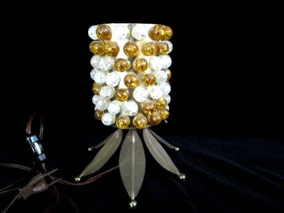 Mid Century TV Lamp, Pineapple Marble Lamp, Mid Century Lamp Lighting, Gold White Marbles, Accent Lamp, 2 Avail