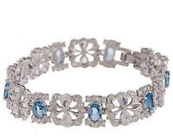 Jackie Kennedy Crystal Bracelet with Blue Stones, Box and Certificate - Sz 7 or 8