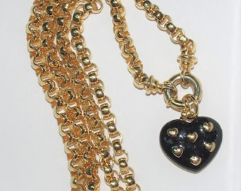 Joan Rivers Rolo Chain with Heart Pendant in Black and Gold - S2268