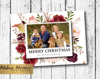 Photo Christmas Card, Watercolor flower Christmas Card,Marsala, Red roses, Christmas Photo Card, Printable, Holiday photo card, boho, flower