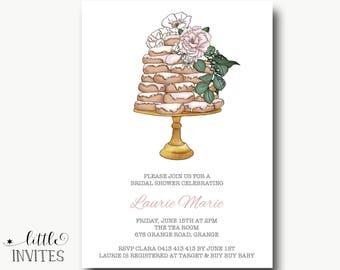 Bridal shower invitation/love is sweet bridal shower/wedding cake invitation/engagement invitation/birthday invitation/16th/21st/30th-Laurie