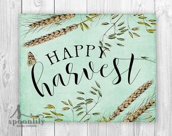 FALL Autumn HAPPY HARVEST Art Print, Happy Harvest Farmhouse Decor, Thanksgiving Art, Fall Decor, Autumn Decor, Happy Harvest Poster