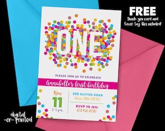 Birthday Confetti Glitter Birthday Invitation, First Birthday Invitation, Rainbow Birthday, Rainbow, Any Age