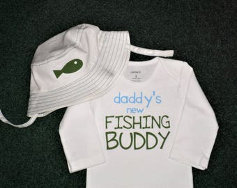 Daddy's New Fishing Buddy Gift Set For Baby Boys - Fishing Hat Baby Boy Gift Set - Long Or Short Sleeves Fishing Buddy Sets - Baby boys Sets