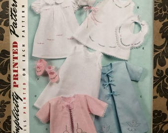 Simplicity vintage '52 pattern baby 2900 layette and bonnet, bib, booties, dress & slip uncut factory folded pattern size xxs -large
