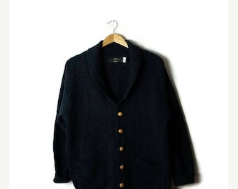 Clearance SALE 40% off Vintage Dark Green  Shawl Collared Wool Cardigan Sweater from 90's*