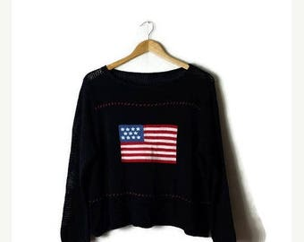 Clearance SALE 40% off Vintage American Flag Cotton crochet knit/Sweater from 90's*