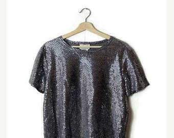 ON SALE Vintage Silver  Sequin Short sleeve Blouse /T-shirt from 1980's*