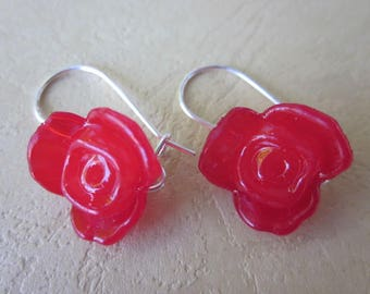 Small Plastic Red Rose Earrings