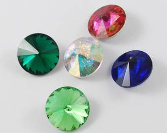 10 x faceted gemstones, Rivoli, chatons, color mix, 10 mm