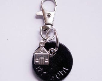 """Black leather Key Ring """"my Home"""""""