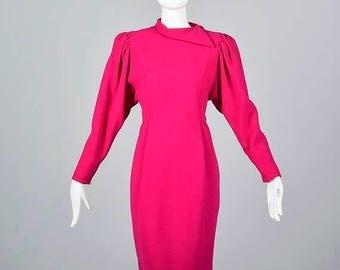 SALE Oscar de la Renta Pencil Dress Long Sleeve Fuchsia Pink Wool Avant Garde Modest Wear to Work Dress Vintage 1980s 80s