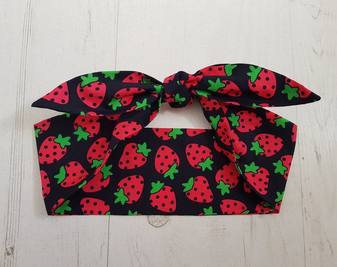 Red Strawberry Rockabilly Head Scarf - Tattoo Hair Pin Up Girl Cherry Wired