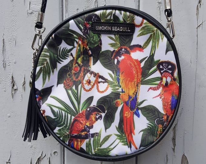 Tropical Hibiscus Round Black Handbag