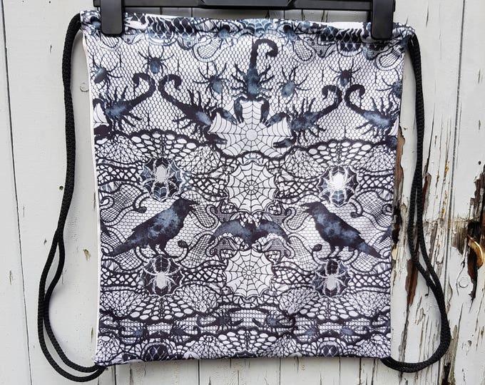 Gothic Spider & Scorpion Backpack - Bag Gym Handbag Horror Lace Raven