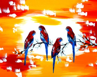 """red, and, yellow, orange, wall art, painting, art, gift, gifts, for, wife, husband, 4 birds, paintings from Australia, artist, 27.5"""" x 19.5"""""""