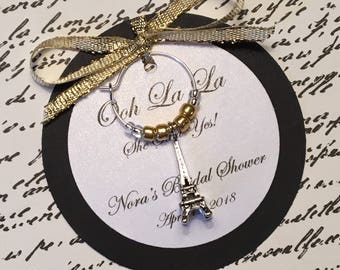 5-45 Custom Eiffel Tower Wine Charm Favors - Paris Themed Favors - Bridal Shower, Wedding, Birthday Party, Anniversary or Special Event